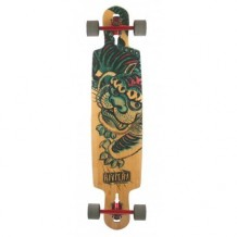 "Longboard Riviera Kung Fu Kitty Drop Through 9.5"" Multi/Wood"